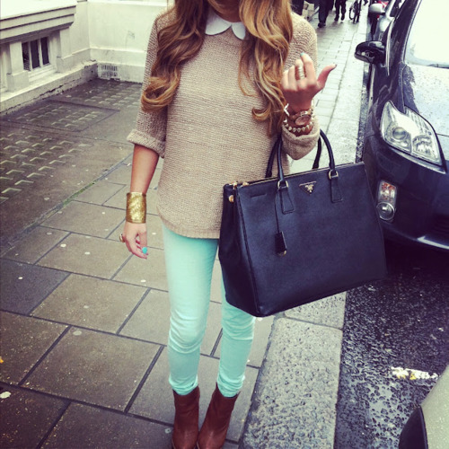 Prada bag + teal jeans
