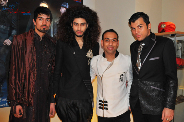 London-based Indian fashion designer & stylist, Saran Kohli w/ male models. *Love the voluminous hair and look of the model second from left!