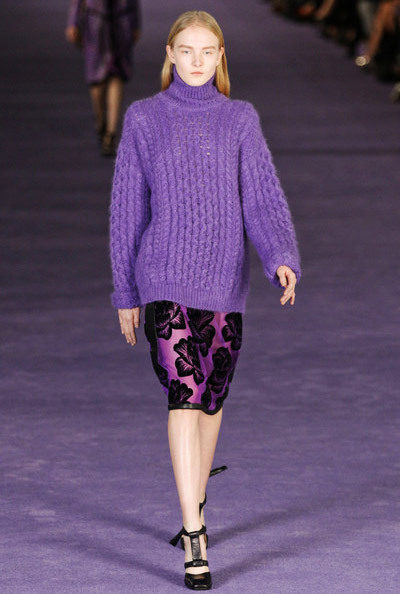 Purple Wool Sweater + Floral Pencil Skirt Trendy 4 Fall 2012. Christopher Kane Fall-Winter 2012.
