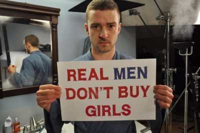 feministmen:  Real men don't buy girls. Justin Timberlake is against human trafficking.