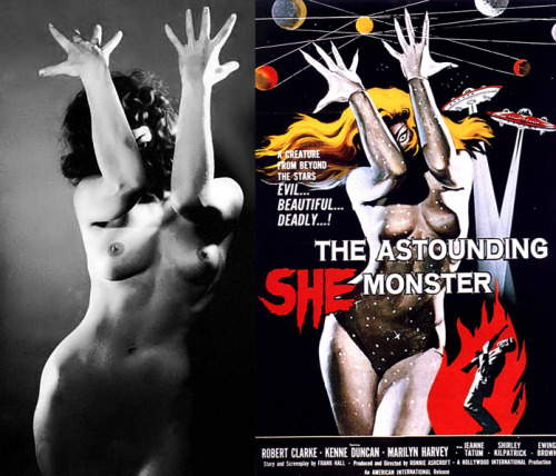 vintagegal:  The Astounding She-Monster (1958) Before and after poster illustration