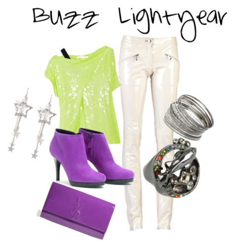 Buzz…. LIGHTYEAR by bay24 featuring leather handbagsDiane von Fürstenberg silk shirt, $385Barbara Bui zipper pants, £724Balenciaga platform high heels, $435Yves Saint Laurent leather handbag, £380Marc by marc jacobs jewelry, $80Dorothy Perkins metal jewelry, $6Stone earrings, $7.12