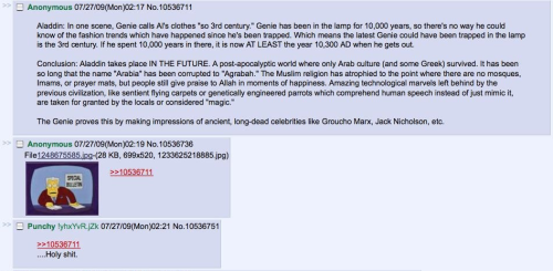 4chan's ability to take one sentence from something and construct a mind-blowing alternate reality out of it is just ludicrous. Here, we see Aladdin was actually set in the future.