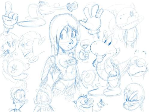 New batch of doodles, sketches and other stuff. I'm very happy with how it turned out. Later I'm gonna go over these with a black line to tighten up everything and put it on dA. Maybe even paint some, I don't know. Click on the image to see it fullsize.
