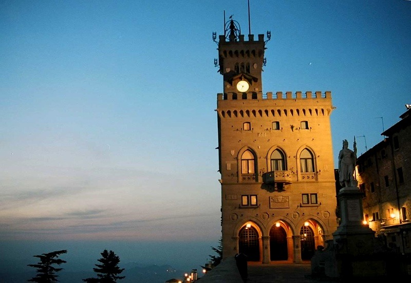 | ♕ |  San Marino Castle at dusk  | by © italianvisits | via ysvoice