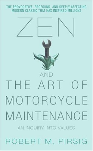 coverspy:  Zen and the Art of Motorcycle Maintenance, Robert Pirsig (M, 20s, leather boots, dark grey khakis, black polo, L train) http://bit.ly/GGteh3