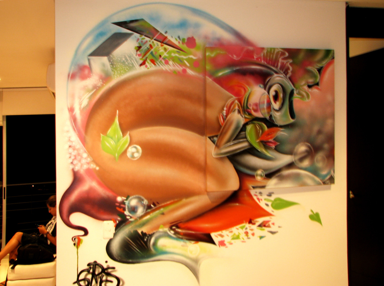 BIRD/ FISH - PAJARO/PEZ   & SUEÑO EROTICO / EROTIC DREAM  ACRILYC AND SPRAY PAINT ON CANVAS
