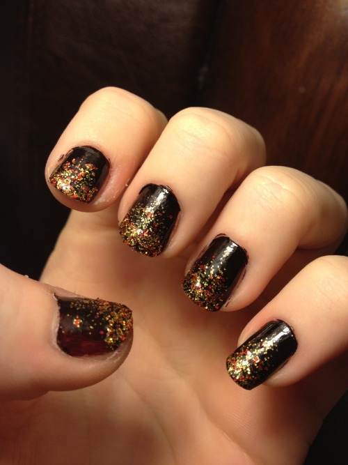 "My ""girl on fire"" inspired nails! (A England's ""Lancelot"" and China Glaze's ""Electrify"")"
