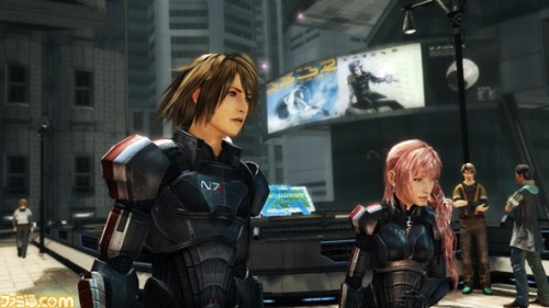thegamefanatics:  Final Fantasy XIII-2 meets Mass Effect via New DLC  Final Fantasy XIII-2 players in Japan are going to get their chance to outfit both Serah and Noel in Mass Effect themed N7 armor via new DLC…  Read More