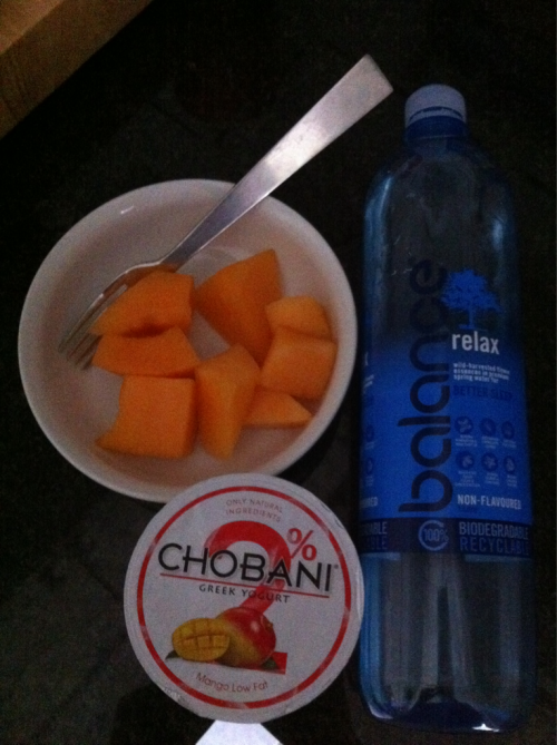 After workout snack: Chobani, rockmelon and Water