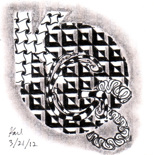 Zentangle monogram. Kinda felt like it had to be done. This fills a slot on March 10.