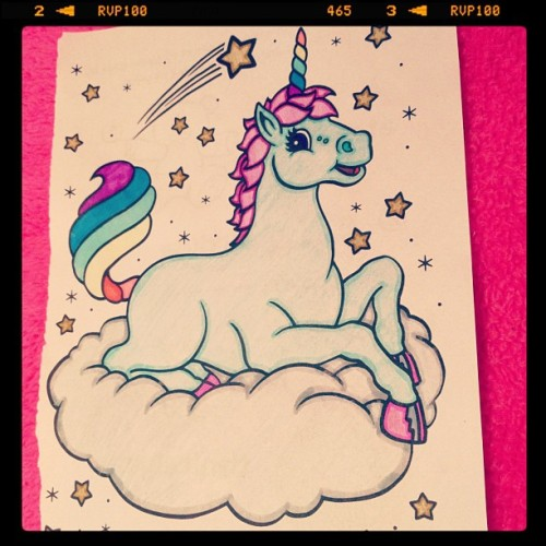 mmmilkshake:  My #coloring #masterpiece from earlier today. #rainbow #unicorn #lisafrank 💗❤💛💚💙💜☁✨🌈👍 (Taken with instagram)