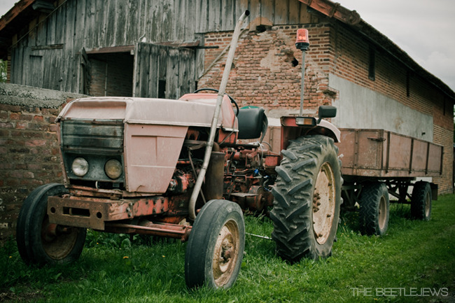 Vintage farm tractor in Burgundy.