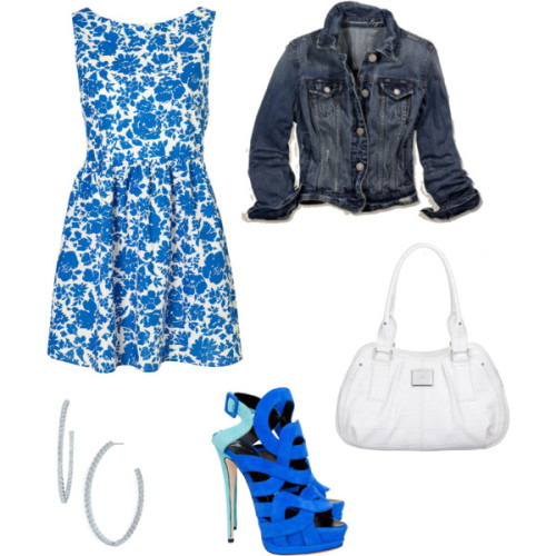 ally :) by cheeseham featuring blue heelsCotton dress, $75Giuseppe Zanotti blue heels, $1,150Fiorelli white shoulder bag, £49Kwiat 18k diamond earrings, $11,900