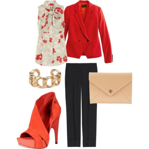 Bows Ablaze by allthingslovely featuring tory burch clutchL Wren Scott tie neck blouse, $1,270Madewell blazer, $138Chloé pleated pants, $795Costume National high heels, $403Tory burch clutch, £289Chanel chain bracelet, £485
