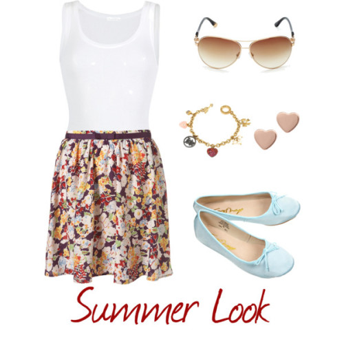 Summer Look #2 by flbruna featuring a floral skirtAmerican Vintage slim shirt, $45Topshop floral skirt, $60Bow shoes, $36Juicy Couture white pearl jewelry, $91Marc by Marc Jacobs heart shaped jewelry, £30Juicy Couture logo sunglasses, $98