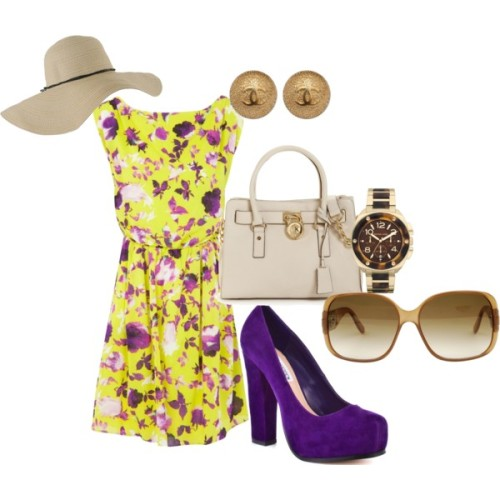 spring fever by blairmoore featuring chanel earringsAlice Olivia floral dress, £290Steve Madden high heels, $100MICHAEL Michael Kors michael kors handbag, $298Michael kors watch, $275Chanel earrings, €376Gucci sunglasses, £150Forever 21 floppy straw hat, $11
