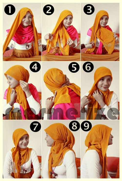 trulicious:  Hijab Tutorial part 3 It's just need paris hijab or square hijab (fold it into triangle) and several pins. Simple and Easy.. :) Thank u @cupid_euy for helping me taking these photos.. :)