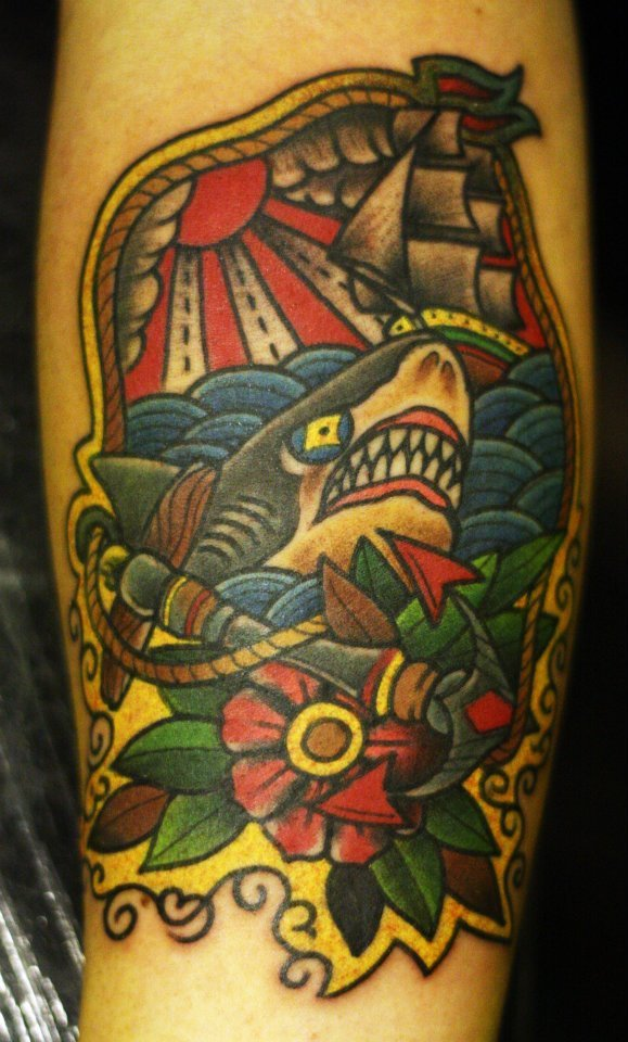 fuckyeahtattoos:  Well i love sharks and the sea, what else is there to say? Done by Danny Garcia @ Inkstanbul Artcore Tattoo - Istanbul, Turkey