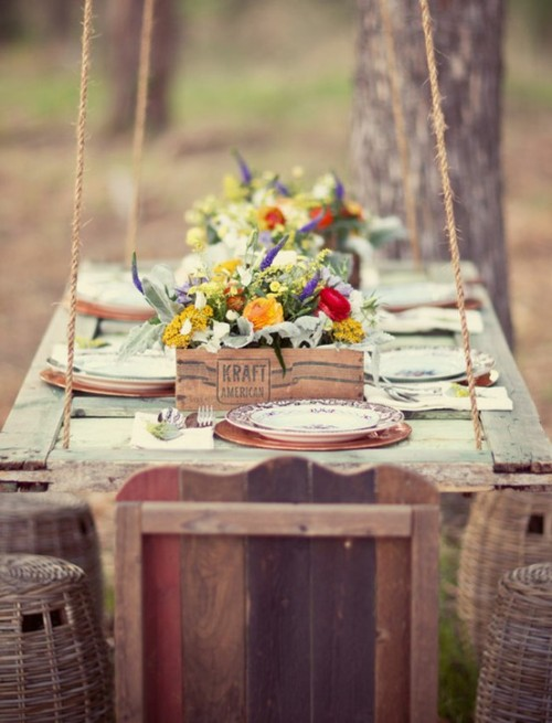 old door as an hanging table for an outdoor lunch