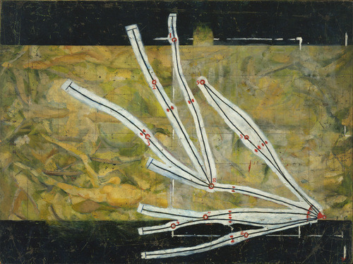archives-dada:  Marcel Duchamp, Réseaux des stoppages étalon, (Network of Stoppages) Oil and pencil on canvas, 148.9 x 197.7 cm, 1914, The Museum of Modern Art, Ne York.