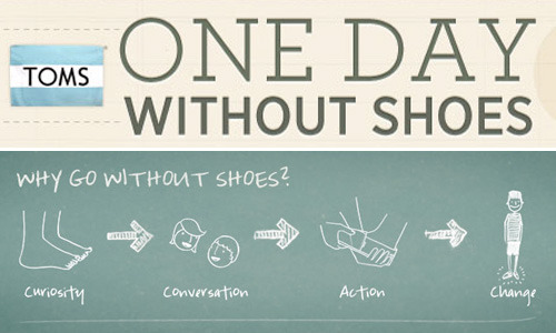 Fashion 101: TOMS, One day without shoes 2012 Bloggers. We wear shoes all the time, sometimes even at a rate of 3 pairs in a day when we feel like dressing up. Some of us have hundreds of shoes that we leave to rot at home; we take photos of them, wear them once, mostly twice. There are millions of kids who walk barefoot. In the Philippines alone, 30,000 people live on one landfill, where many are without shoes and are exposed to broken glass, syringes and debris. What more if we consider the statistics beyond our borders?  The next time you complain that you have nothing to wear, think of the millions of people who share the same sentiment.   Visit http://www.onedaywithoutshoes.com/ to find out more about the campaign.  (c) Fashion Firewoman