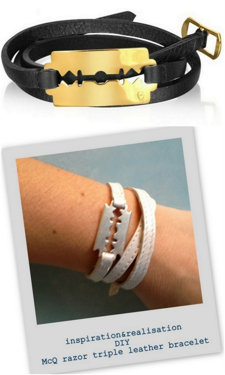 DIY McQ Alexander McQueen Razor Triple Leather Bracelet. Photo TOP: $66 McQ Razor Triple Leather Bracelet (sold out) here, Photo BOTTOM: DIY. The trick is to find the razor charm, which I'm sure I can if I google it. Tutorial from inspiration & realisation here. EDIT: Razor Blade Charms Ebay here, Etsy here (but look at the sizes).