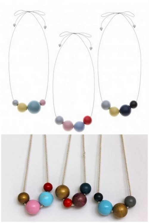"DIY Painted Wooden Bead Necklace. Top Photo: The House of Kami ""Daiquiri"" $95 here, Bottom: DIY. Tutorial from henry happened here."