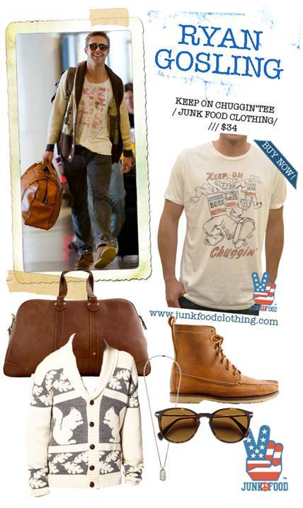 Junk Food Clothing featured our Squirrel Jumper in their 'get the look' of Ryan Gosling feature.