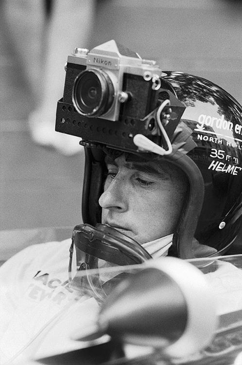 "Jackie Stewart/35mm Helmet/Monaco/1966 (I'm extremely curious about the pictures he took) More info:  ""Monaco GP 1966, Jackie Stewart driving for  Matra was asked by a French photographer to take some images during practice with this Nikon F1 attached to his helmet."" via"