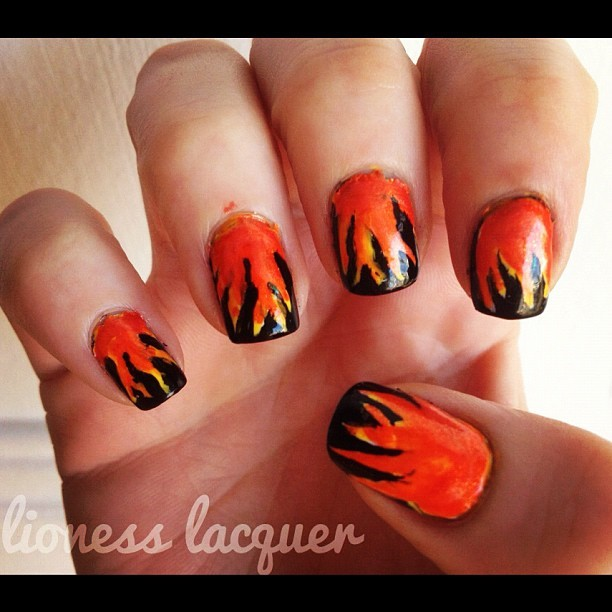 The Hunger Games-  Girl on Fire Nails (Taken with instagram)  Will post HQ/ post clean up pics later !