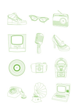 some icons I created of objects from the 50s and 60s, can be lasercut to create stamps