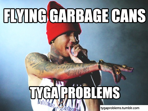 FLYING GARBAGE CANS. CHRIS BROWN.