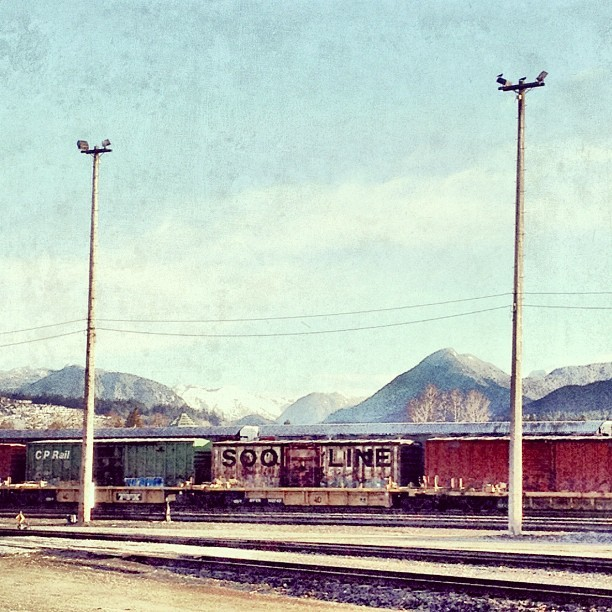 SOO LINE #trains #landscape #mountains #bc  (Taken with Instagram at Port Coquitlam Station)