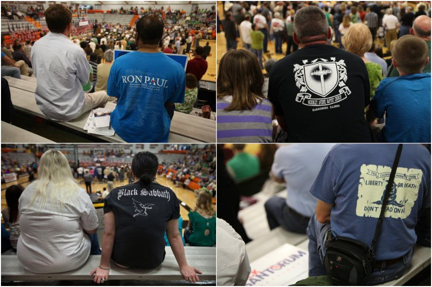 "Bag's Take-Away:  In this New York Times collage, Ron Paul and the Baptists are paired with nihilism at a Santorum rally. GOP contest defies meaning.  via The New York Times (photo credit: Tony Cenicola/The New York Times caption:  A variety of allegiances were on display as Mr. Santorum spoke at the ""Rally for Rick"" at Herrin High School.) Visit BagNewsNotes: Today's Media Images Analyzed ————— Topping LIFE.com's 2011 list of Best Photo Blogs, follow us at: BagNewsNotes; BAG Twitter; BAG Facebook; Bag by Email."