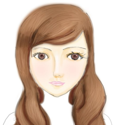 My unfinished digital painting..don't feel like finishing it. The face is a little distorted and creepy ~.~