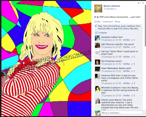 This is a pop portrait I made of the fashion designer Betsey Johnson. I always loved her sense of fashion so colorful and genuine. She ve been so nice to post the portrait on her Facebook Page :) anyway I didn't get invitation from her to show or party. She could do it :P Anyway at least she liked it :) LOLOLO Luv ya Betsey but let's meet :P!!!