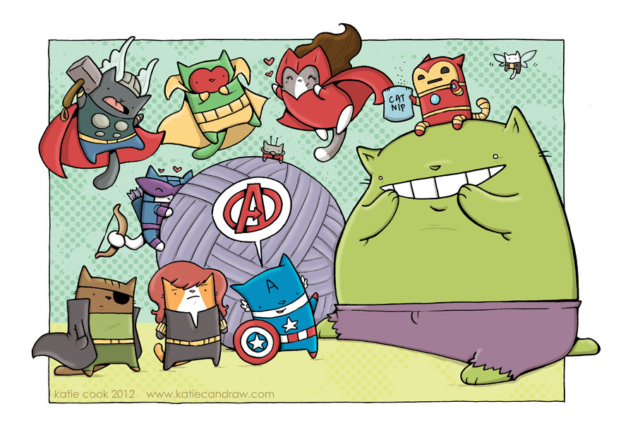 hellisforcowards:  Cat Avengers by katiecookie
