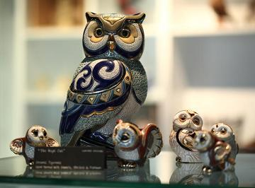 Exquisite creations: Owl figurines painstakingly crafted by artisans.