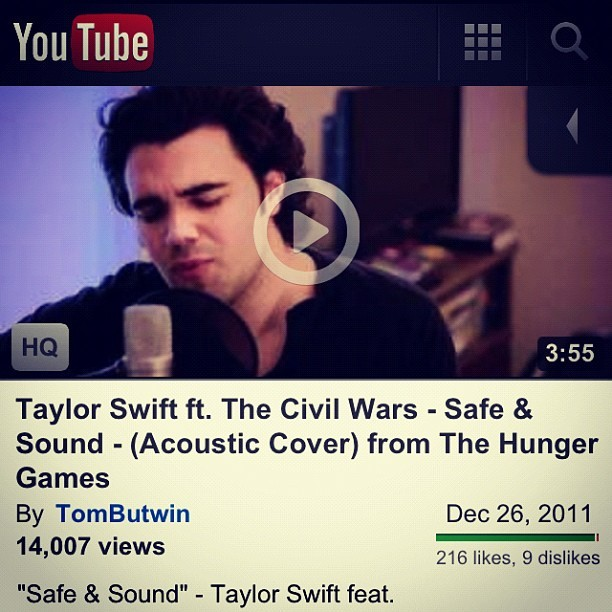 "Hunger Games! Check out my cover of ""Safe & Sound"" from the soundtrack! #thehungergames #youtube #hungergames #taylorswift #civilwars #cover #safeandsound #tombutwin  (Taken with instagram)"