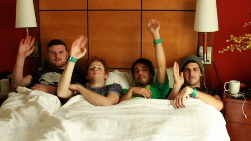 "BEHIND THE SCENES WITH: FIDLAR  We met up with the boys of FIDLAR in the early afternoon mid SXSW. We were asked to hold the interview at the boys' hotel room. We entered the room slowly, a little apprehensive about what FIDLAR's hotel room would look like after a few days at SXSW. The room was surprisingly in some sort of order, but half the boys were missing. A few minutes later they all strolled in and we were ready to go. Examining the hotel couch with clothes strewn all around it, and a lame print hanging in the background, we looked around the room looking for a more comfortable spot. This was the point when all four boys crawled into bed, clearly the most comfortable piece of furniture in the room. The cameras started rolling and we had a pretty hard time not cracking up to the things that came out of FIDLAR's mouth. Favorite quote of the interview… that their music sounded like ""Bukowski Punk."" Nuff said.  Later that night we hiked over to the FARRR East Side to the WNYU showcase, where FIDLAR was playing. There were 40's and youngins aplenty. Luckily we made it out alive and well to tell the tale.  For the bed-side interview, head on over to Arcade44 - Annick Mayer"