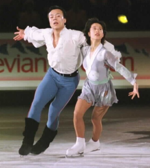 Xue Shen and Hongbo Zhao skating to Puccini's Madame Butterfly during the 1997 Grand Prix Final gala. Photo by JB Mittan.