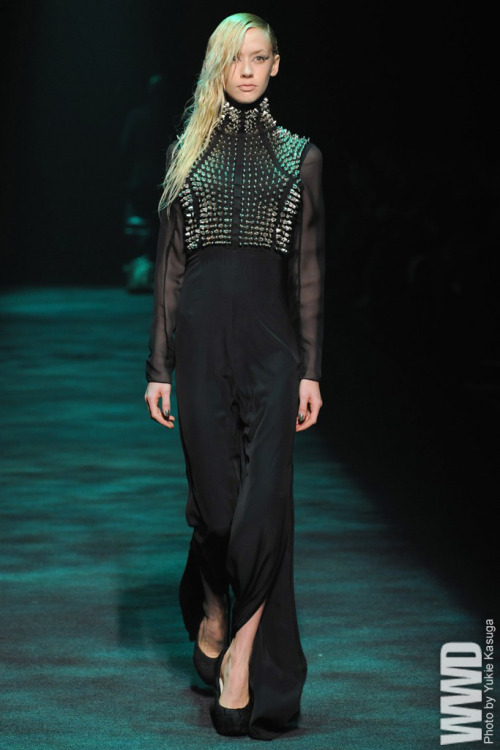 Christian Dada RTW Fall 2012 Masanori Morikawa, whose resume includes making stage costumes for Lady Gaga, showed a collection of dark, dramatic looks for both men and women.