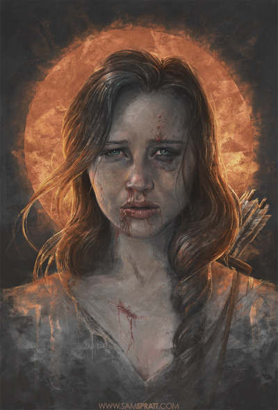 "samspratt:  ""Katniss"" - portrait illustration by Sam Spratt I had an abnormal influx of requests this week for a Hunger Games piece, so I decided to take a swing at it with a fairly dark and desperate tone."