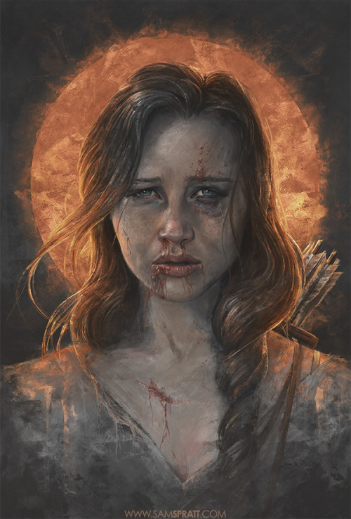 "samspratt:  ""Katniss"" - portrait illustration by Sam Spratt I had an abnormal influx of requests this week for a Hunger Games piece, so I decided to take a swing at it with a fairly dark and desperate tone. Who's seeing the midnight showing? Don't forget to enter my contest to win a custom portrait painting tailored to you, as well as a chance to win a limited edition signed print of this. Follow my: portfolio website,  tumblr,  facebook artist's page and twitter.  I cannot believe he does this on Photoshop"