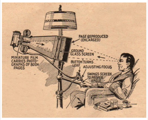 "[""The Book Reader of the Future"" from the April 1935 issue of Everyday Science and Mechanics.  via retronaut] I want one of these!"