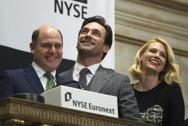 thecorcorangroup:  Mr. Weiner, Mr. Hamm & Ms. Jones Rang the Opening Bell…Financial District, NY (via Buzz Feed)