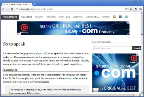 The ad assault continues. Wonder how much Domain.com is paying Google to target a user that's not interested at all in their product. Makes you understand why Facebook is such a threat to Google's business model. Update: Thank God I found the Google page with the option to not have ads targered based on what Google thinks you like. Here: https://www.google.com/ads/preferences