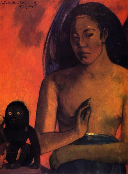 nottheredbaron:   Paul Gauguin Barbarian poems, 1896 oil, canvas  63 x 47 cm