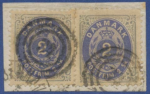 "«MIXED FRANKING» of both 2 skilling bicoloured, 1st printing: LINE PERFORATED & COMB PERFORATED on small piece with duplex canc. ""34"". Cert. Lasse Nielsen & Møller. A UNIQUE ITEM.  Denmark, Stamp, Rare"